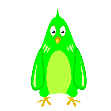 green parrot funny , Isolated cute parakeet on white. tropical bird. color Illustration.