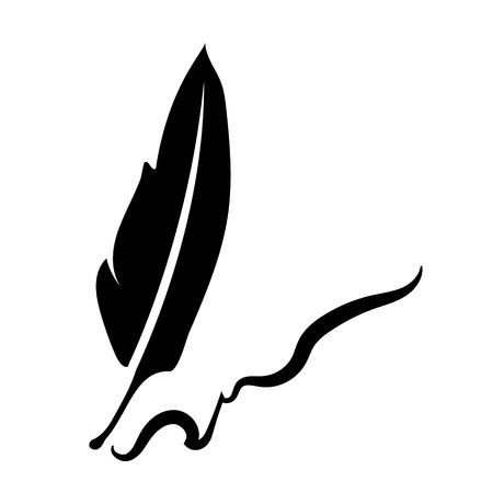 vintage pen, feather writer symbol, retro literature icon, diary sign black illustration,