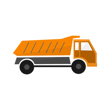 Orange truck dump in flat design ,types transport car, vector industry illustration , icon vehicle, isolated lorry ,