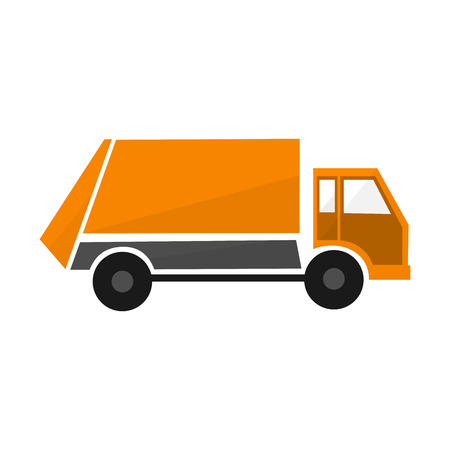 Orange garbage truck, flat illustration municipal lorry vehicle, urban cargo car Illustration