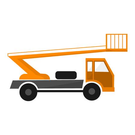 Orange aerial lifting platform. Utility vehicle. Car lift . Forklift truck. On white