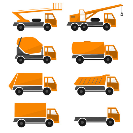Orange construction cars , collection industrial truck isolated illustration , types cargo automobiles, set icon vehicles , flat design Illustration