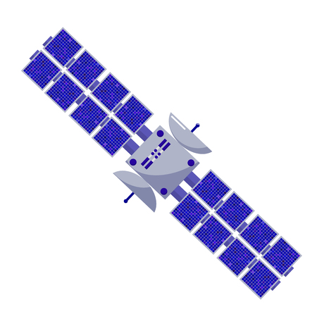 space station: Satellite flat style. Isolated space objects on a white background. Design element. astronautics science