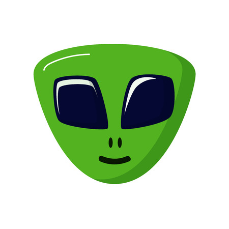 space invaders: green stranger smiling. Alien life. UFO. Space theme. Icon on white