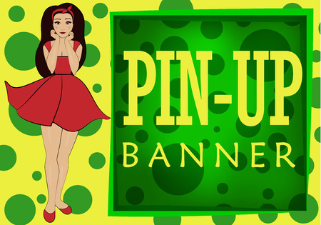 Yellow-green banner in the style of pin-up image of a beautiful girl in a short dress Illustration