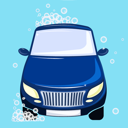 dazzling: car washing. Blue automobile bubbles and foam