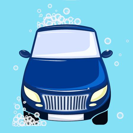 car washing. Blue automobile bubbles and foam