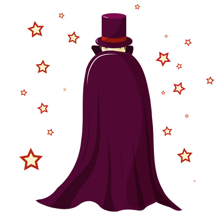 Magician illusionist in a purple robe is covered. Mysterious look. Only the eyes are visible. Around the magic stars