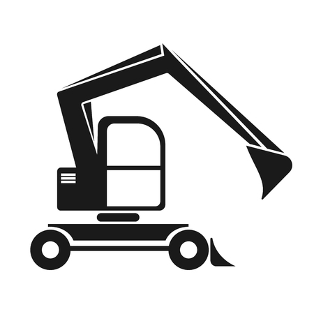 navvy: The black silhouette of an excavator with a dipper. Isolated on white. vehicle construction