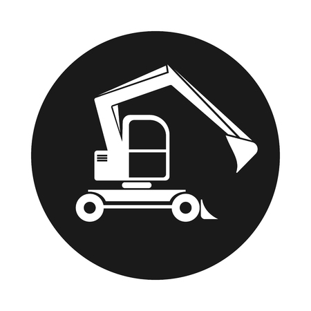 nternet: Black round web icon excavator with bucket. Building vehicles sign Illustration