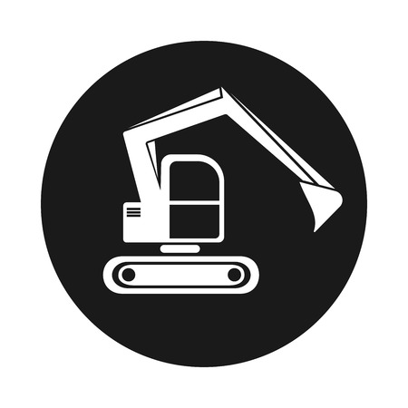 navvy: Icon hydraulic tracked excavator . Vehicle construction black on white