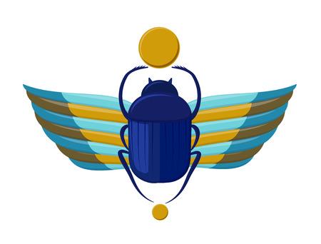 sacrosanct: Egyptian bug beetle with wings. Symbolism of ancient Egypt. Scarab beetle. Scarab bug on white