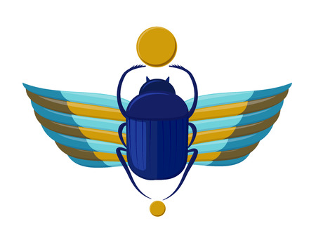 Egyptian bug-beetle with wings. Symbolism of ancient Egypt. Scarabeus beetle. Scarab bug