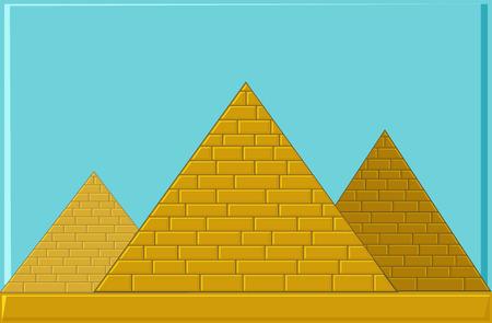 Three Pyramids of ancient Egypt of blocks