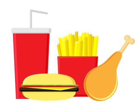Fastfood on a white background. Fried potatoes, hamburger, chicken leg and soda. Useless food.