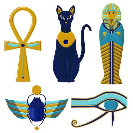 Set of egyptian signs and symbols. Cultures of Ancient Egypt Vettoriali