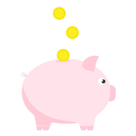 Pink piggy bank with three coins. Symbol of deposit and investment. Illustration