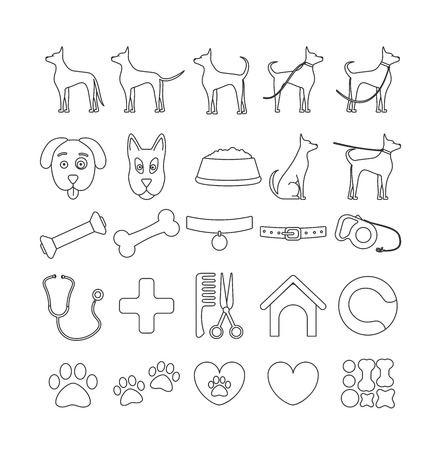 dog set line icons. Pet symbols and sign