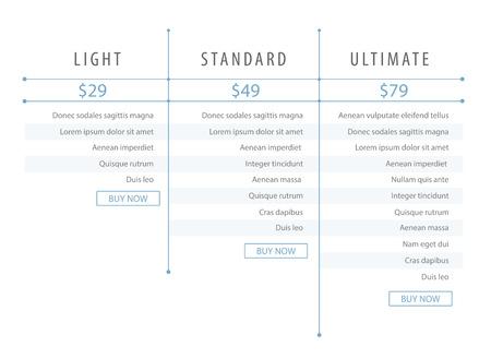 Minimalistische moderne prijslijst sjabloon voor de website. Webontwikkeling. Lichtblauw