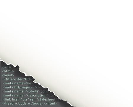 Torn corner of sheet of paper under which programming code. Background web development