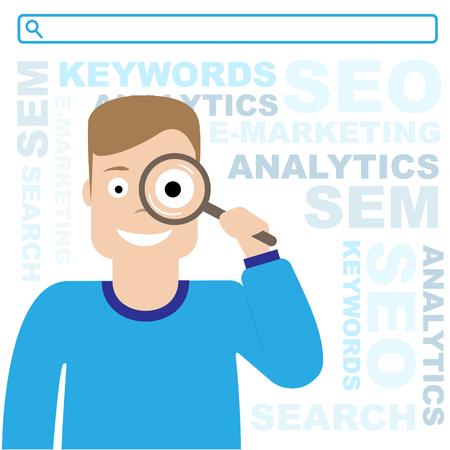 SEO optimalisatie. Sem en e-marketing. De man houdt een vergrootglas vast. Vlakke afbeelding