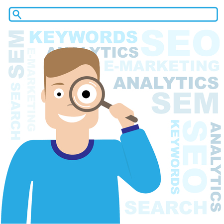 emarketing: SEO optimization. Sem and e-marketing. The guy is holding a magnifying glass. Flat illustration