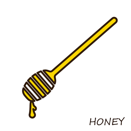 Spoon with honey. Flat line Icon single.