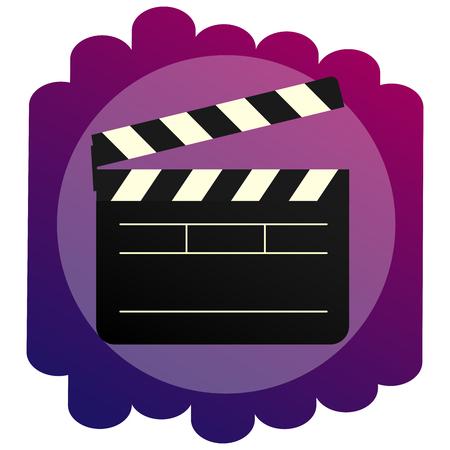 Klaps jasna ikona. Znak kinematografii i kina. Inwentarz do filmowania licznika z krakersem