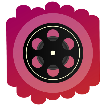 A bright icon celluloid or cine-film . A sign of cinematography, film and cinema.