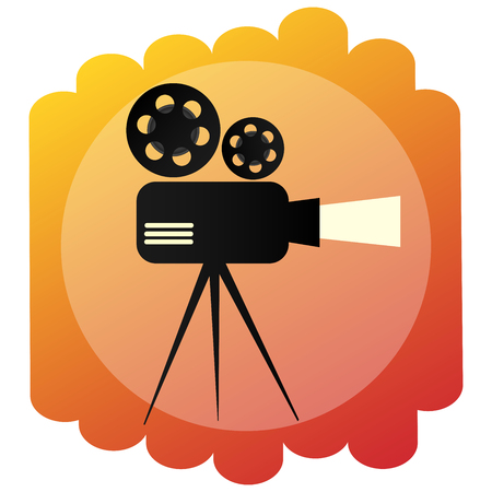Movie projector icon. Retro cinema and film sign . A Bright illustration of cinematography
