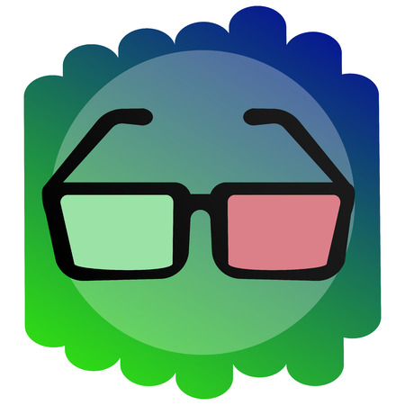 Bright Icon 3d glasses. The sign of the cinema. Illustration