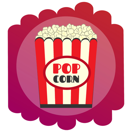 Bright flat Popcorn icon. The sign of the cinema. single