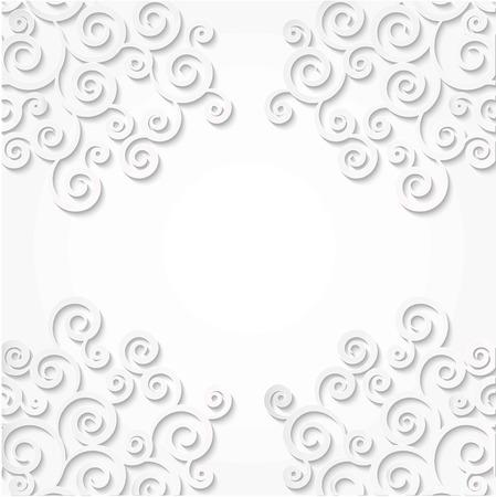 Pattern corners curls made of paper. White background. Scroll frame 3D effect. Reklamní fotografie - 79660588
