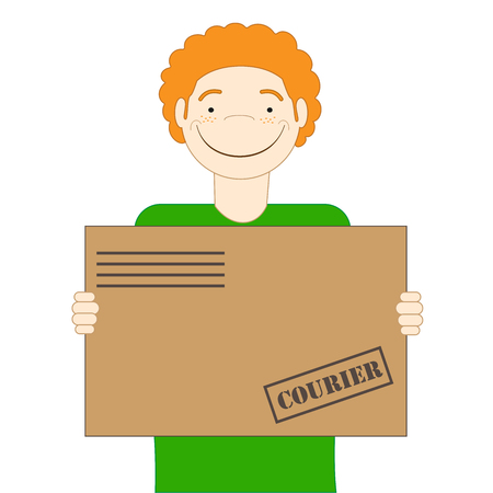 The red-haired cute courier is holding a parcel in his hands. Delivery Иллюстрация