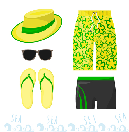 Male beach outfit. Clothing and accessories at sea for men