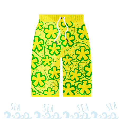 Beach bright men shorts in the style of the Miami with flowers. Illustration