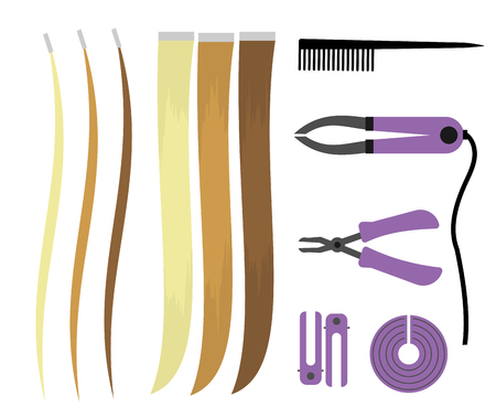 Set of illustrations of icons of hair extensions. Hairdresser tools for the procedure. Overhead curls Illustration