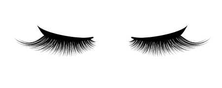 Eyelash extension. A beautiful make-up. Thick cilia. Mascara for volume and length. Vectores