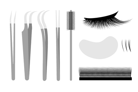 Eyelash extension. Set Professional tools tweezers
