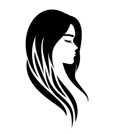 뷰티 살롱 로고 또는 헤어 익스텐션 또는 속눈썹 또는 화장품 절차 일러스트