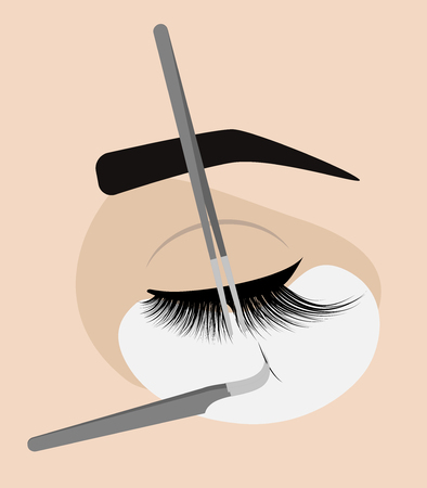 Procedure for eyelash extension. Master tweezers add the false or fake cilia to the client. Illustration