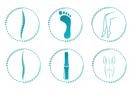Icon set for orthopedist. Orthopedic logos. Illustration of the spine and joints. the human body Illustration