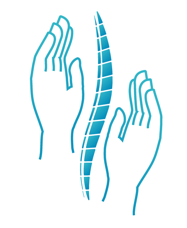 Chiropractic or Massotherapy logo. Manual therapy. Medical icon. The hand holds on the back. Sign spine