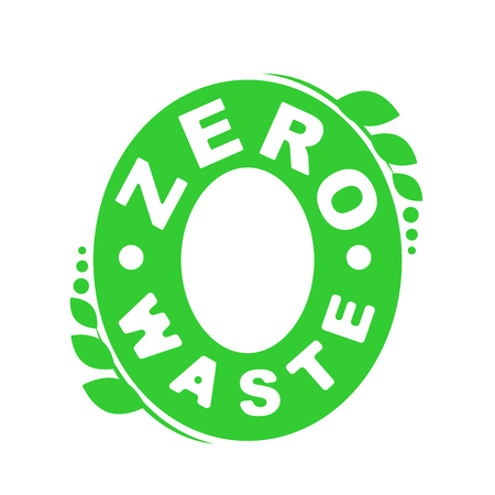 Logo or badge of zero waste. Garbage processing and recycling. Ecology green symbol. Vector