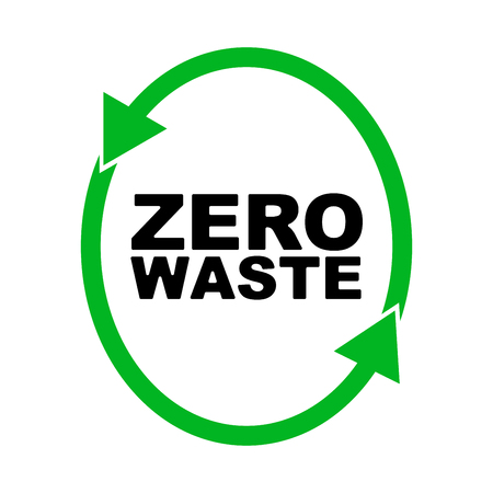 refuse: Garbage processing and recycling. Ecology. Logo or badge of zero waste. green symbol. global warming. Vector