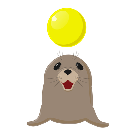 Fur seal. Circus show with animals. Sea dog plays with a yellow ball. on white Illustration