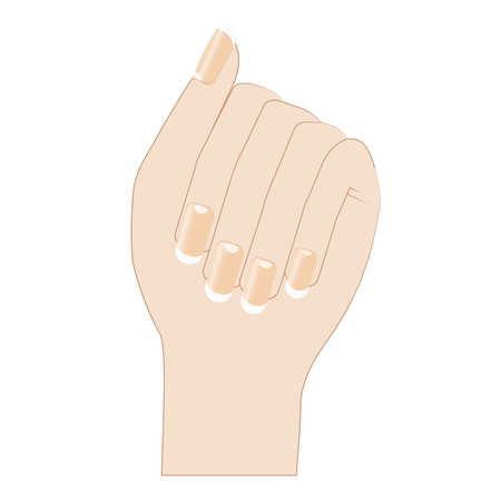 Nail extension. Natural French manicure. The woman hand bent into a fist. Femenism