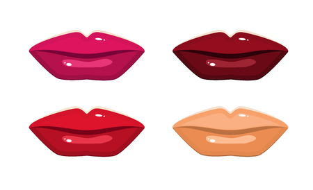 Set of four shades of lips. Lipstick or permanent make-up