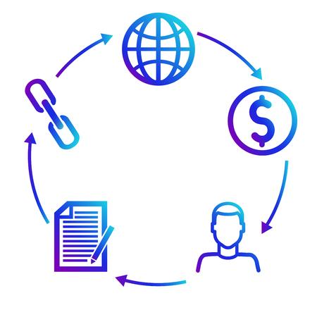 Esquema de ganancias en programas de afiliados asociados. Márketing Foto de archivo - 83313365