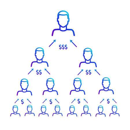 Scheme of work of the financial pyramid. Referral program Vectores